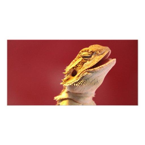 Dragón barbudo de risa tarjeta personal con foto