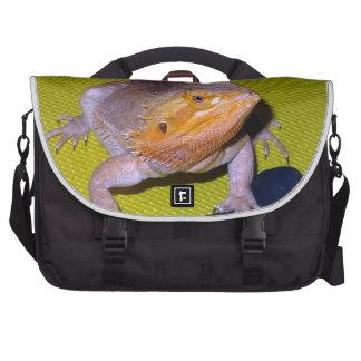 dragón barbudo que ejercita con pesa de gimnasia bolsas para portátil