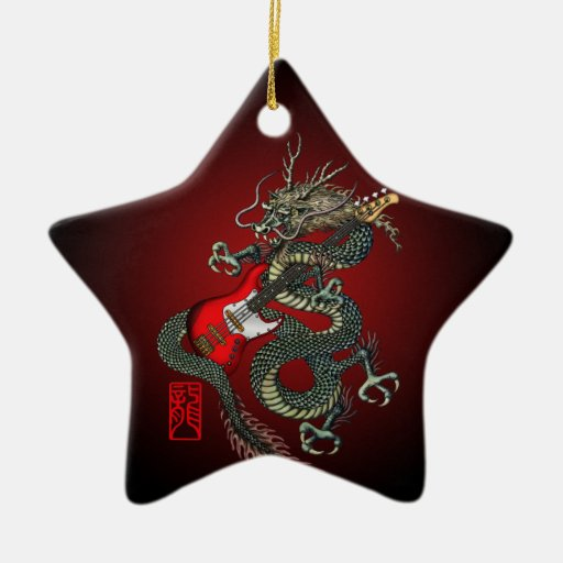 Dragon Bass 01 Adorno Navideño De Cerámica En Forma De Estrella