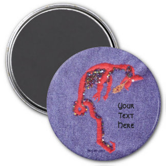 Dragon Beads Denim Embroidery Print 3 Inch Round Magnet