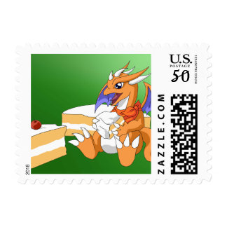 Dragon Birthday with White Cake Postage Stamp
