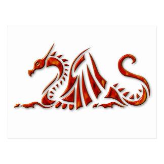 Dragón biselado rojo metálico postales