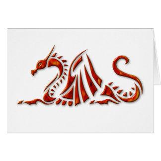 Dragón biselado rojo metálico tarjeta