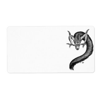 Dragon black and white Design Label