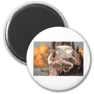 Dragon Blanco Imán Redondo 5 Cm