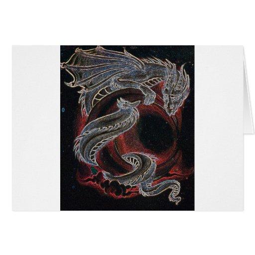 Dragón blanco, luna roja en negro tarjeta de felicitación
