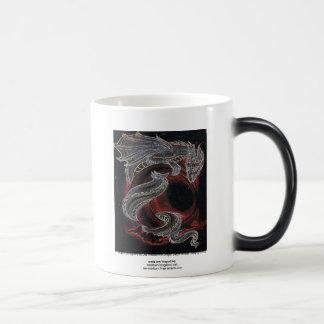 Dragón blanco luna roja taza