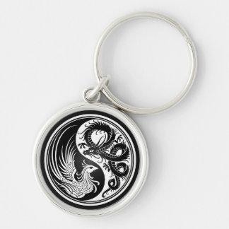 Dragón blanco y negro Phoenix Yin Yang Llavero Redondo Plateado