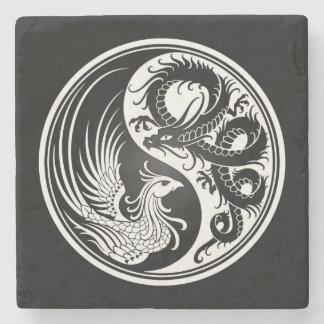 Dragón blanco y negro Phoenix Yin Yang Posavasos De Piedra