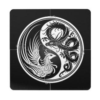 Dragón blanco y negro Phoenix Yin Yang Posavasos De Puzzle