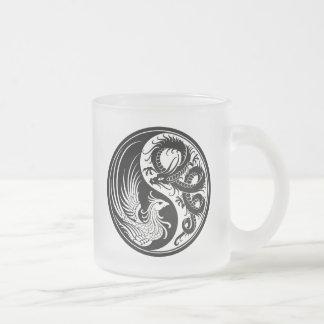 Dragón blanco y negro Phoenix Yin Yang Tazas De Café