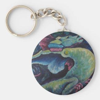 Dragon Bluegreen Basic Round Button Keychain
