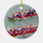 Dragon Boats Double-Sided Ceramic Round Christmas Ornament