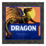 Dragon Brand Fruit Crate Label Poster