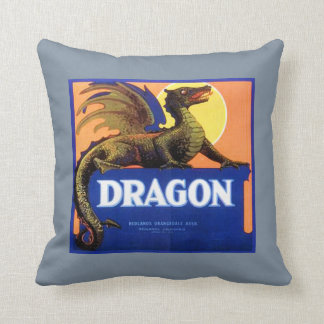 Dragon Brand Fruit Crate Label Throw Pillow