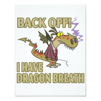 dragon breath stay away funny cartoon personalized invites