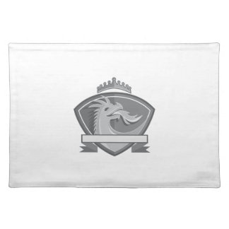 Dragon Breathing Fire Crown Shield Retro Placemat