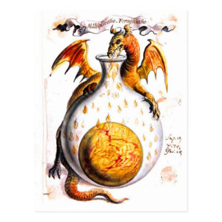 Dragon breathing fire into flask postcard