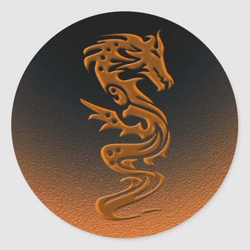 Dragon bronze round stickers