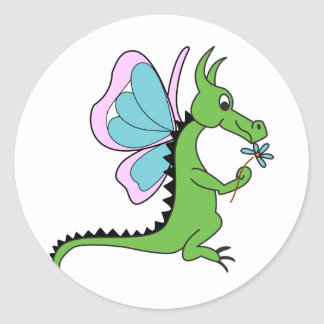 Dragon Butterfly Classic Round Sticker