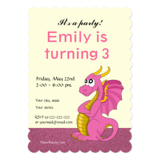 Dragon cartoon birthday print invitations