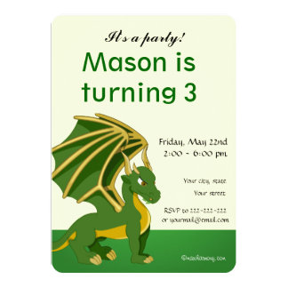 Dragon cartoon birthday print invitations