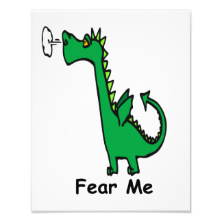 Dragon Cartoon, Fear Me Photo Print