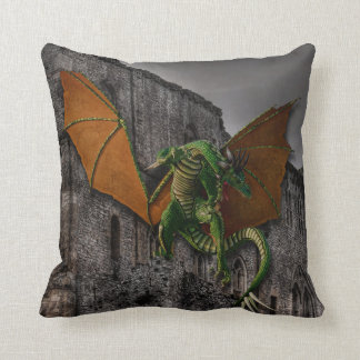 Dragon & Castle Fantasy Artwork Throw Pillow