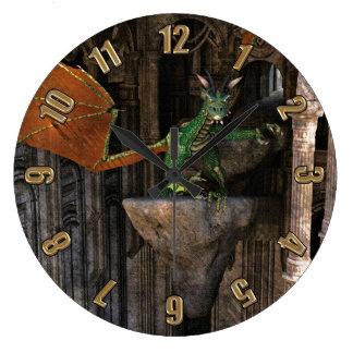 Dragon & Castle Fantasy Artwork Wallclock