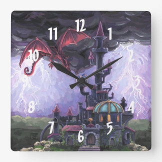 Dragon Castle Square Wall Clock