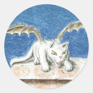 Dragon cat pegatina redonda