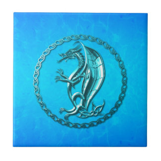 Dragón céltico azul teja
