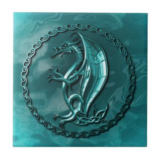 Dragón céltico azul tejas