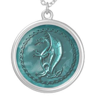 Dragón céltico azul colgante redondo