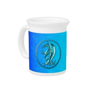 Dragón céltico azul jarra de beber