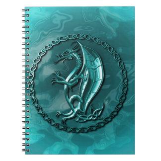 Dragón céltico azul libretas espirales