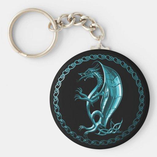 Dragón céltico azul llavero redondo tipo pin