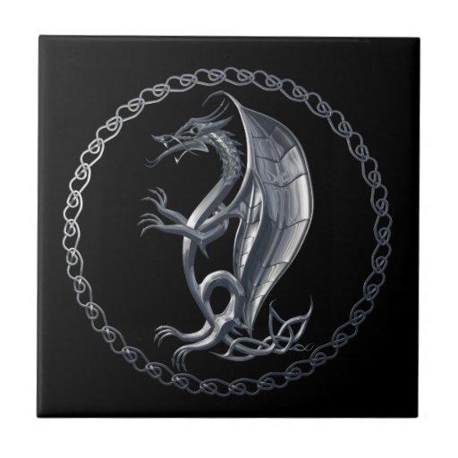 Dragón céltico de plata teja  ceramica