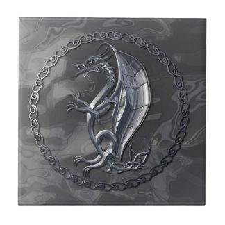 Dragón céltico de plata azulejo cerámica