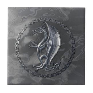 Dragón céltico de plata azulejo ceramica