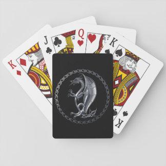 Dragón céltico de plata cartas de póquer