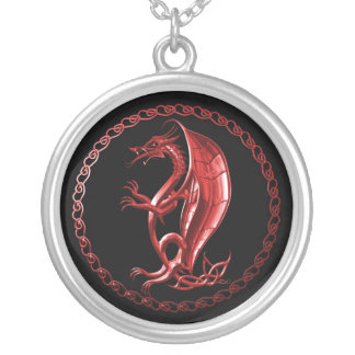 Dragón céltico rojo colgante redondo