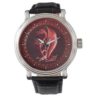Dragón céltico rojo reloj de mano