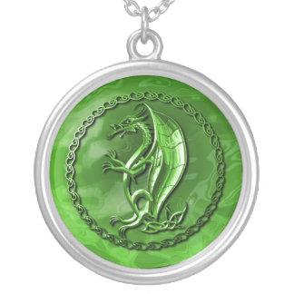 Dragón céltico verde colgante redondo