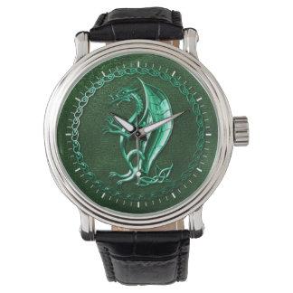 Dragón céltico verde reloj de mano
