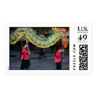 dragon chasing tail lanterns stamp