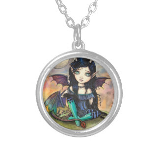 Dragon Child Cuge Big-Eye Fairy and Dragon Silver Plated Necklace