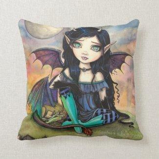 Dragon Child Cuge Big-Eye Fairy and Dragon Throw Pillow