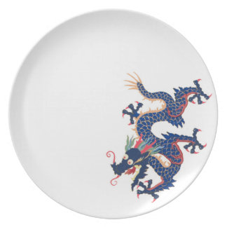 Dragon Chinese Asian Serpent Blue Crazy Qing Melamine Plate