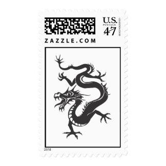 Dragon Chinese Fantasy Fiction Tattoo Zodiac Black Postage